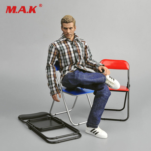 1:6 Scale Folding Chair Black Red Blue Figure Furniture for 12
