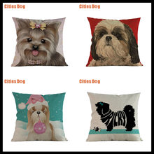 가정용 크리스마스 장식 베개 쿠션 커버 shih tzu dog pillowcase dakimakura almofada 동물 소파 almofadas cojines(China)