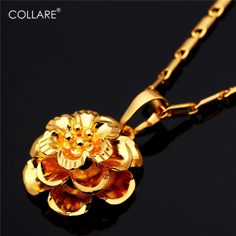 Collare Flower Necklace Women Gift Gold/silver Color Fashion Jewelry Wholesale Plant Pendant P160 Cheap Sales 50%