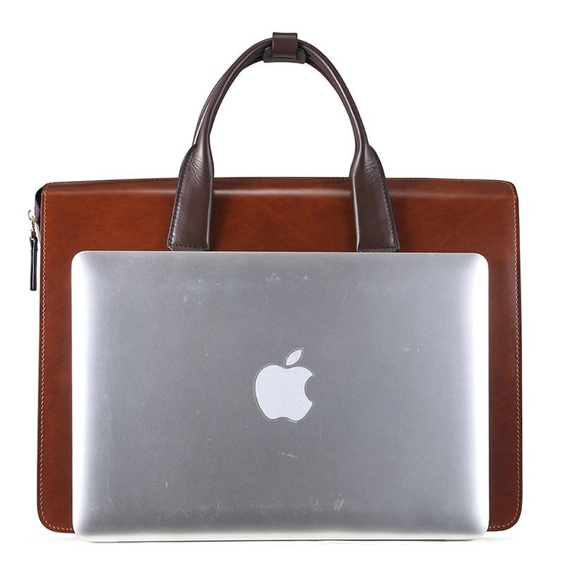 Moda famosa marca uomini d'affari borsa valigetta in pelle olio - Borse da lavoro - Fotografia 3