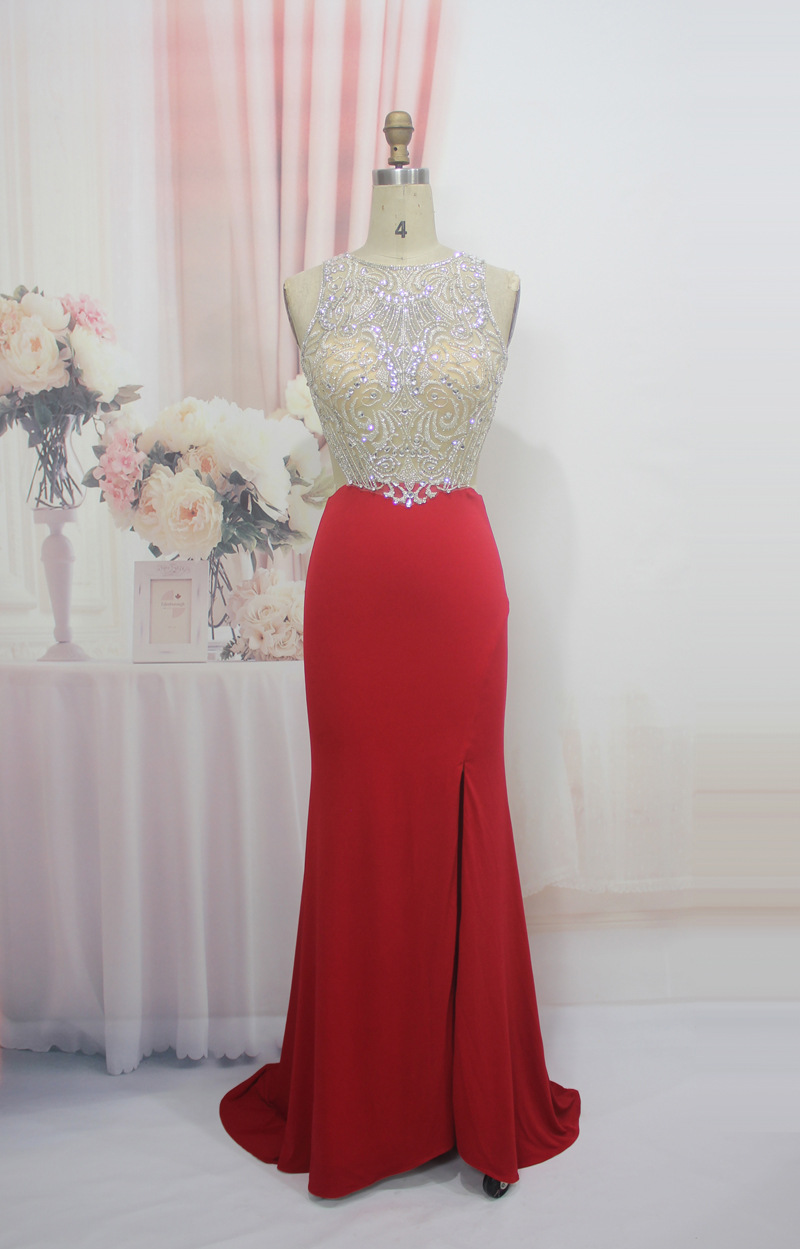 Doragrace robe de soiree High End New Sexy Backless Mermaid Side Split Crystal Beaded Red Evening Dresses DGE143 in Evening Dresses from Weddings Events