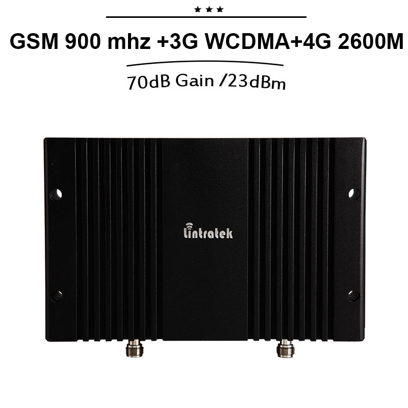 70dB Gain GSM 3G WCDMA 2100 4G LTE 2600 Band 7 Tri Band Mobile Phone Signal Booster Amplifier 23dBm MGC Power Signal Repeater#24