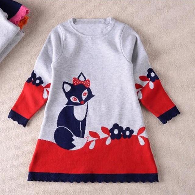 Зимняя одежда для детей теплое платье Модная одежда для девочек трапециевидной формы свитер с рисунком «Лиса» платья с длинными рукавами с круглым вырезом Детская одежда Праздничная одежда, платье 19