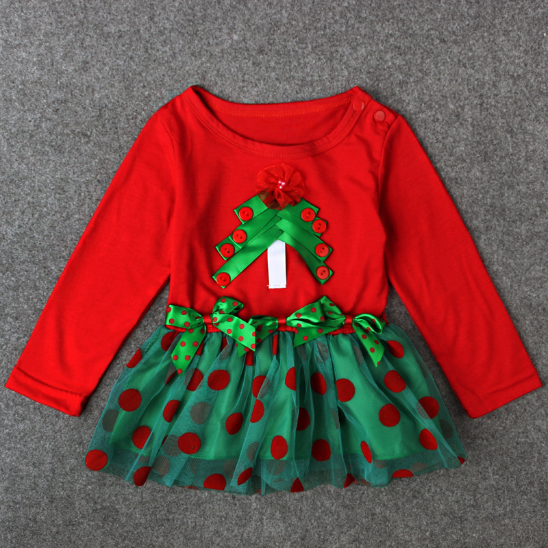 Christmas clothing boutique girl Christmas clothing sets for baby girl Cotton tree long sleeve tutu dresss autumn Kids outfit