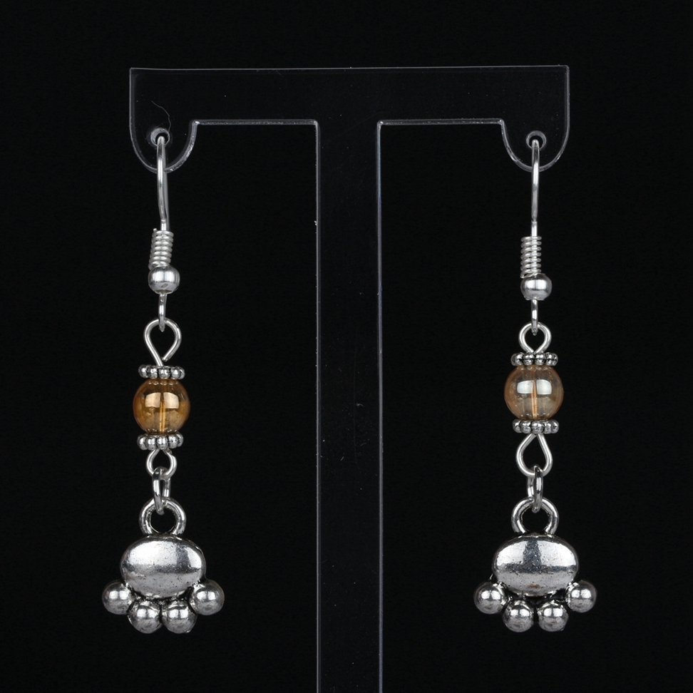Vintage Silver Dog Paw Prints Dangle Earrings Charms Crystal Bead Drop Earrings For Women Accessories Gift Jewelry Hot Sale S124