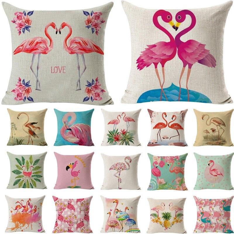 1Pcs 43*43cm Flamingo Pattern Cotton Linen Throw Pillow Cushion Cover Seat Car Home Decoration Decorative Pillowcase 40494