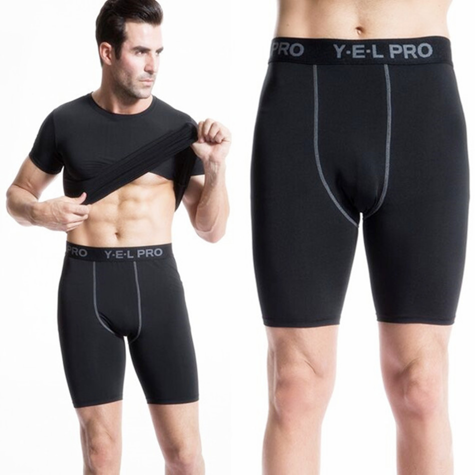 2019 Sexy Gym Shorts Fitness Training Short Gym Wear Bodybuilding Slim Quickly Dry Shorts Wear Compression Black Yoga Shorts Men