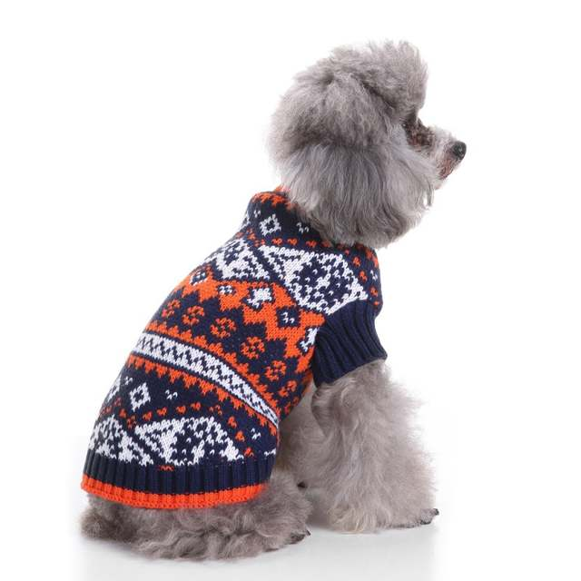 Christmas Sweaters For Dogs.Us 3 82 21 Off Dog Sweater Christmas Sweaters Pet Holiday Fair Isle Snowflake Pet Sweater Autumn Winter Dog Clothes In Dog Sweaters From Home