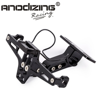 Motorcycle Adjustable Angle Aluminum License Number Plate Frame With Led Indicator Light Holder Bracket Universal