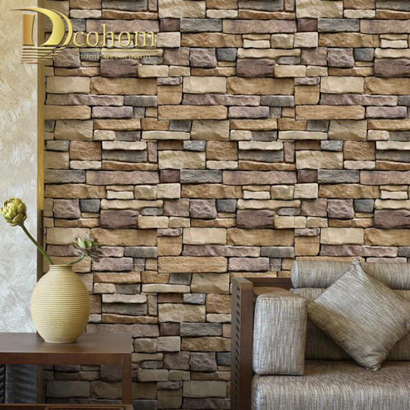 Self Adhesive Wallpaper Vinyl Waterproof Wall Covering Stickers Kitchen Bedroom Living Room TV Backdrop Rustic Brick Wallpaper