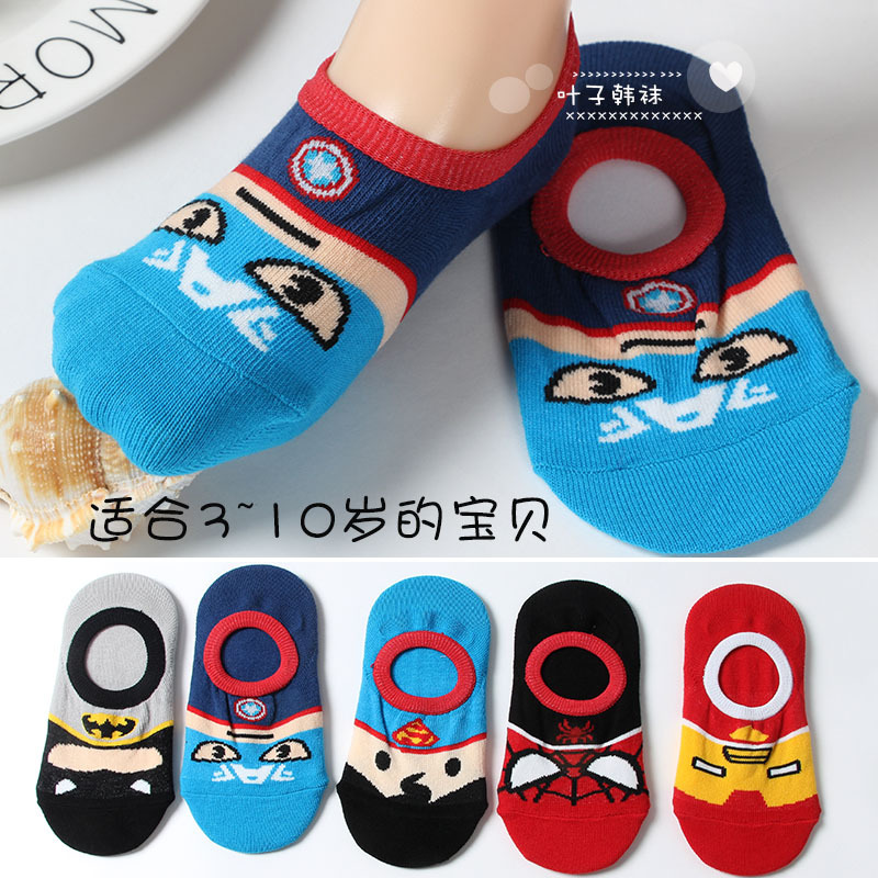 DC Marvel Captain America Anime kid socks Superhero Spiderman iron Man funny Cartoon sock summer child girls boys cosplay socks