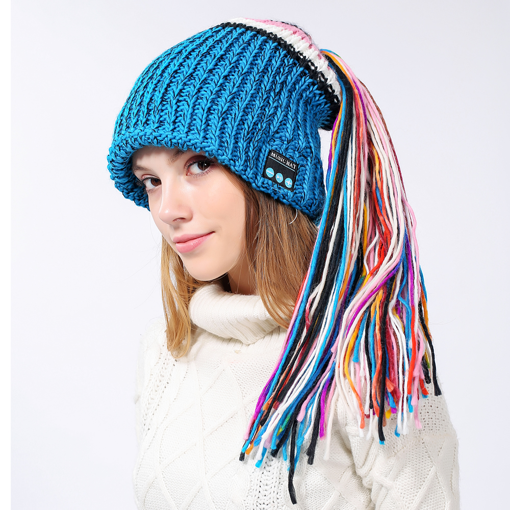 Bluetooth Music Hat Knitted Beanie Winter Soft Warm Headset Built in HD Speakers for Exercise Gym Sports Fitness Running Skiing striped knitted warm beanie hat
