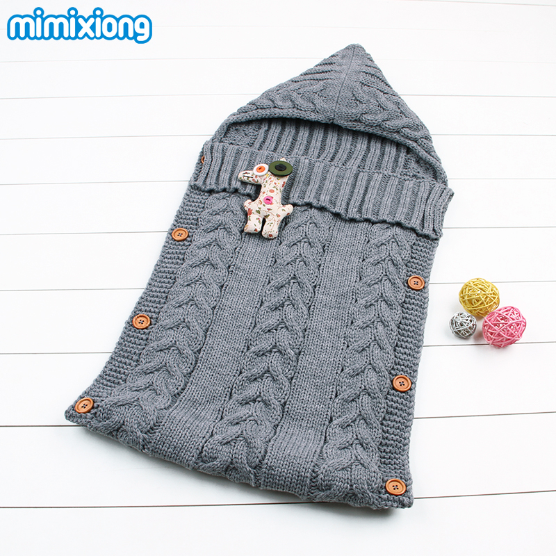Cotton Envelope For Newborns Knitting Pattern Warm Baby Sleeping Bags Winter Stroller Swaddle Wrap Blankets Infant