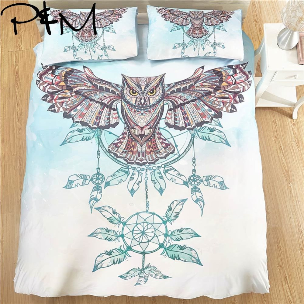 Papa Mima Wind chimes and owls print bedding set Duvet Cover Pillowcase Sets no Sheet Bedclothes