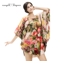 SpaRogerss Brand Style 2017 Faux Silk Women Nightgown Home Clothing Lady Sleepshirt Floral Print Plus Size