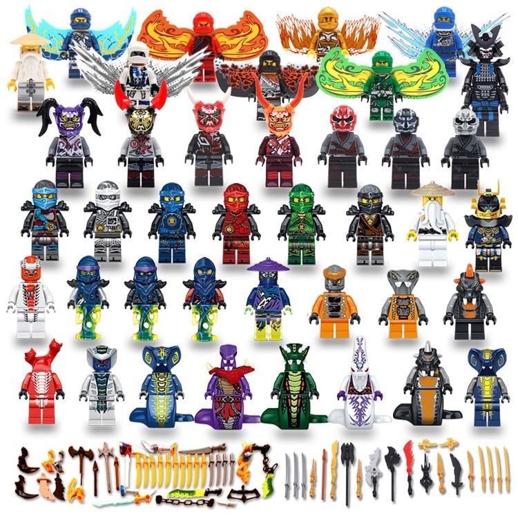 40 piezas Ninjago cifras máscaras Wu Lloyd KAI JAY COLE ZANE serpiente princesa hijos de GARMADON construcción bloques Compatible con legoing