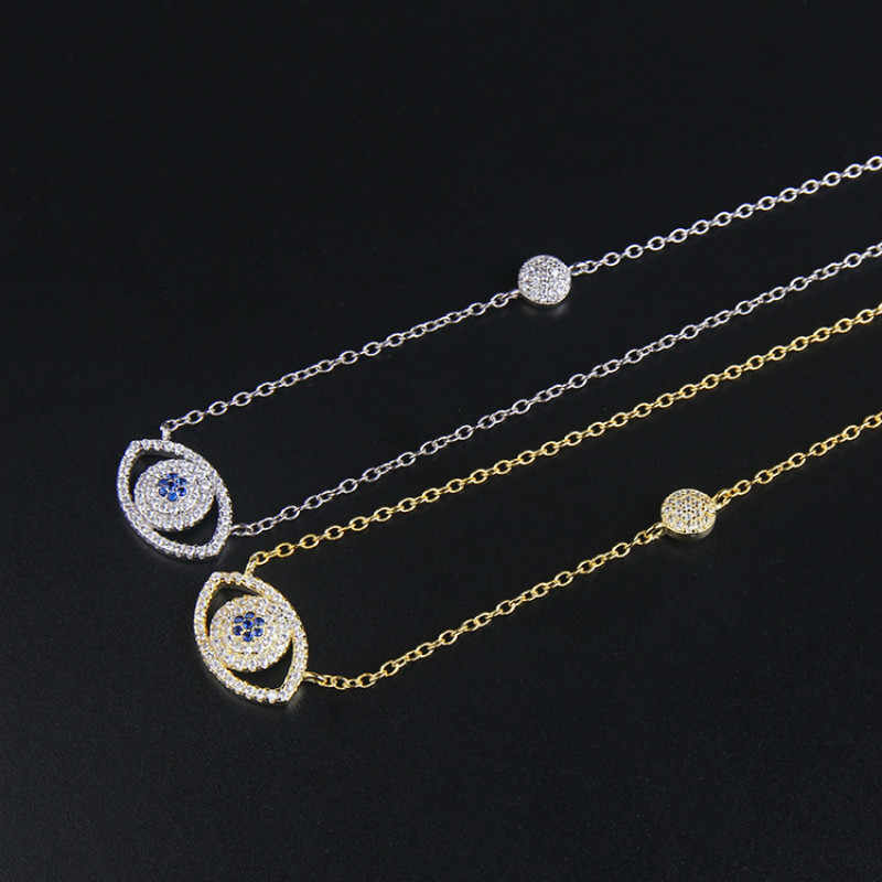 Fashion Eyes Necklace Silver Gold Color Crystal Jewelry Christmas Gifts SJ111114 ZK30