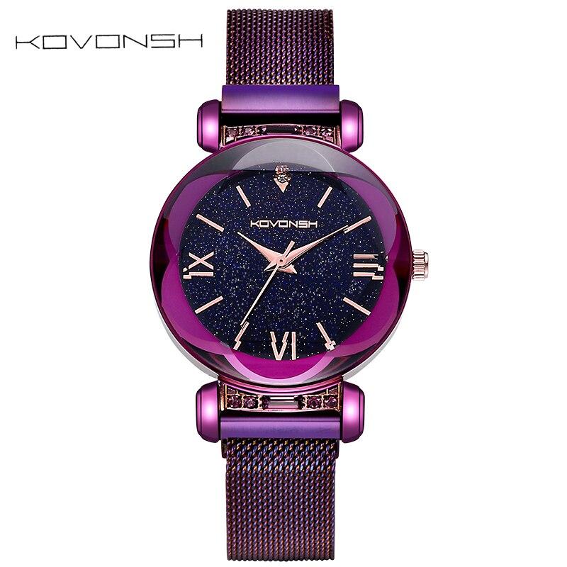 KOVONSH femmes étoilées montres magnétique maille ceinture bande dame montre en acier inoxydable de luxe mode robe montre Quartz montres - 2