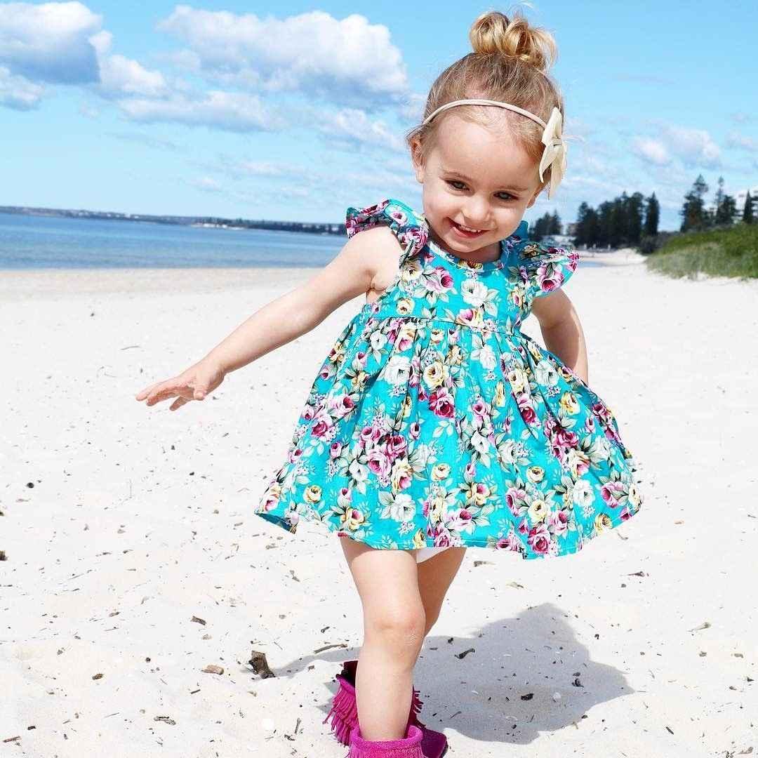 Детское платье для маленьких девочек; синий сарафан с цветочным рисунком и рюшами; летние платья для девочек; наряды с трусиками; повседневная детская одежда