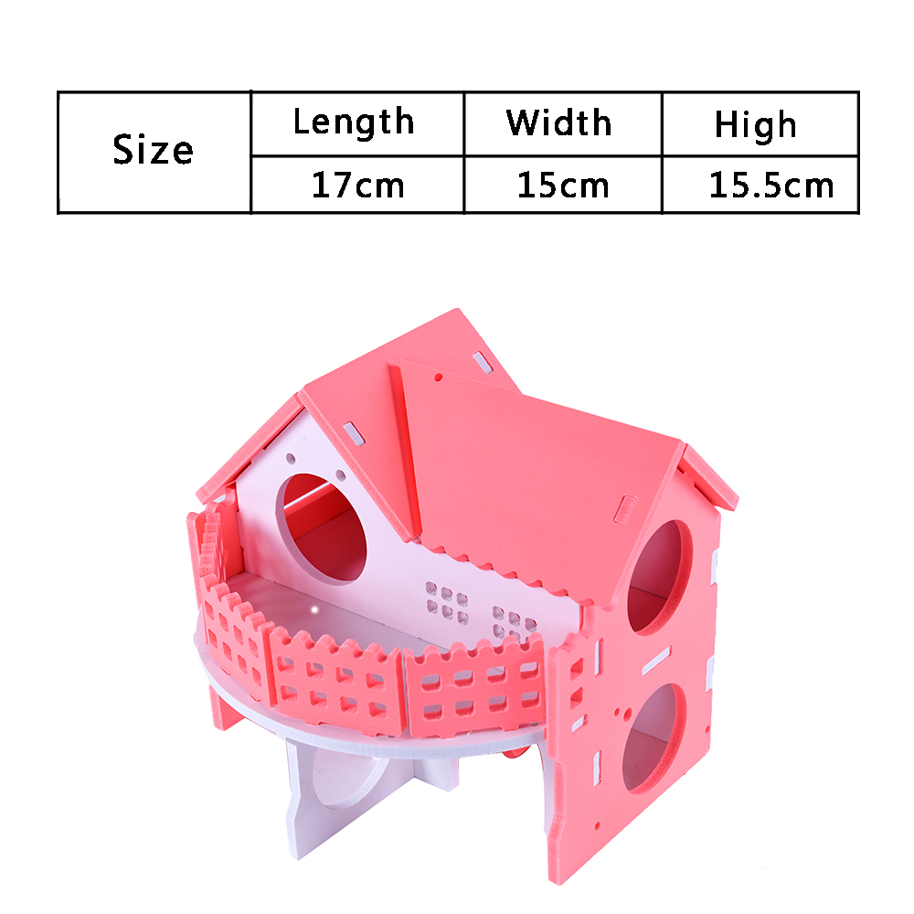 Wooden House Guinea Pig Mice Stairs Cockloft Small Pet Playing Watching Stage Wooden Cages Hamster  (7)