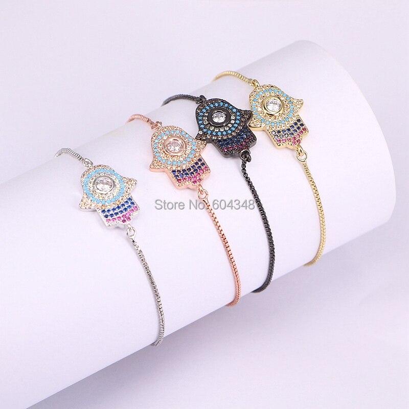 120f178abbb 10PCS ZYZ176 1395 Fashion Fatima Hamsa Hand Charm Connector Bracelet For  Women Micro Pave CZ Zirconia Bracelet Turkish Jewelry-in Chain & Link  Bracelets ...