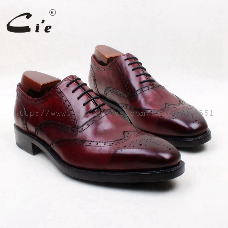 cie Square Toe Full Brogues Lace-Up Oxfords 100%Genuine Calf Leather Bottom Breathable Goodyear Welted Deep Wine Men's ShoeOX681 cie square toe semi brogues lace up oxfords patina purple 100