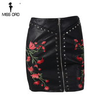 Missord 2017  Autumn And Winter Flower Embroidery Zipper Beads Black  Leather Skirt  FT8617