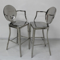 Коммерческая мебель полный Нержавеющаясталь 4 ножки, обеденный стул барный стул высокую скамеечку барный стул со спинкой