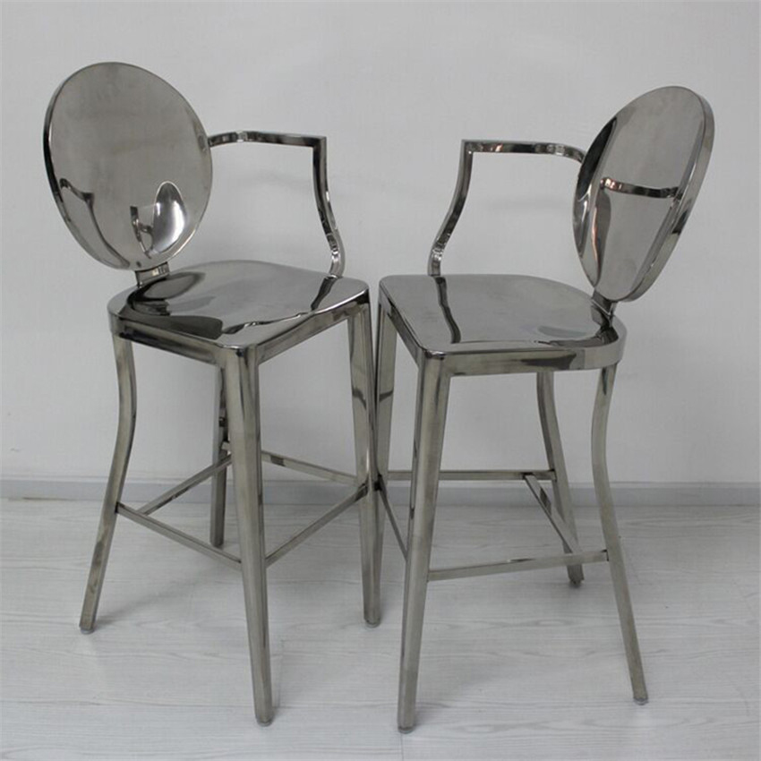 Dining Chairs With Stainless Steel Legs Bedroom Chair Malaysia Commercial Furniture Full 4 Leg Bar Counter High Footstool Stool