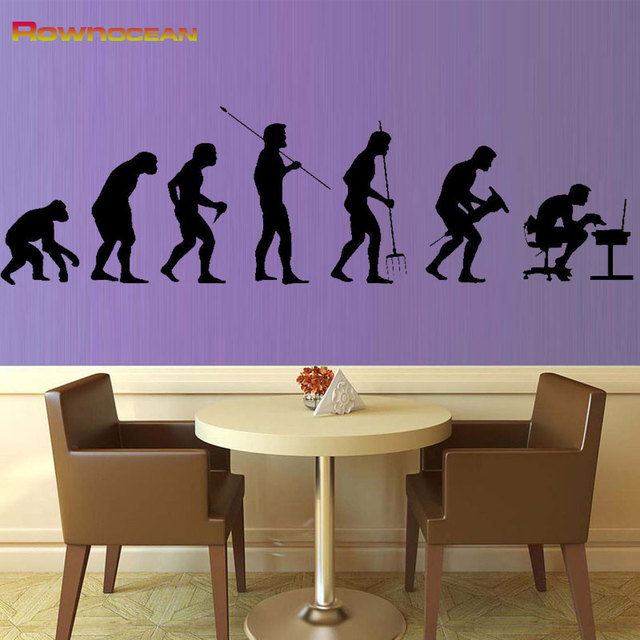 Rownocean Human Evolution Wall Decorations Video Stickers For Living Room Decals Mural Home Posters