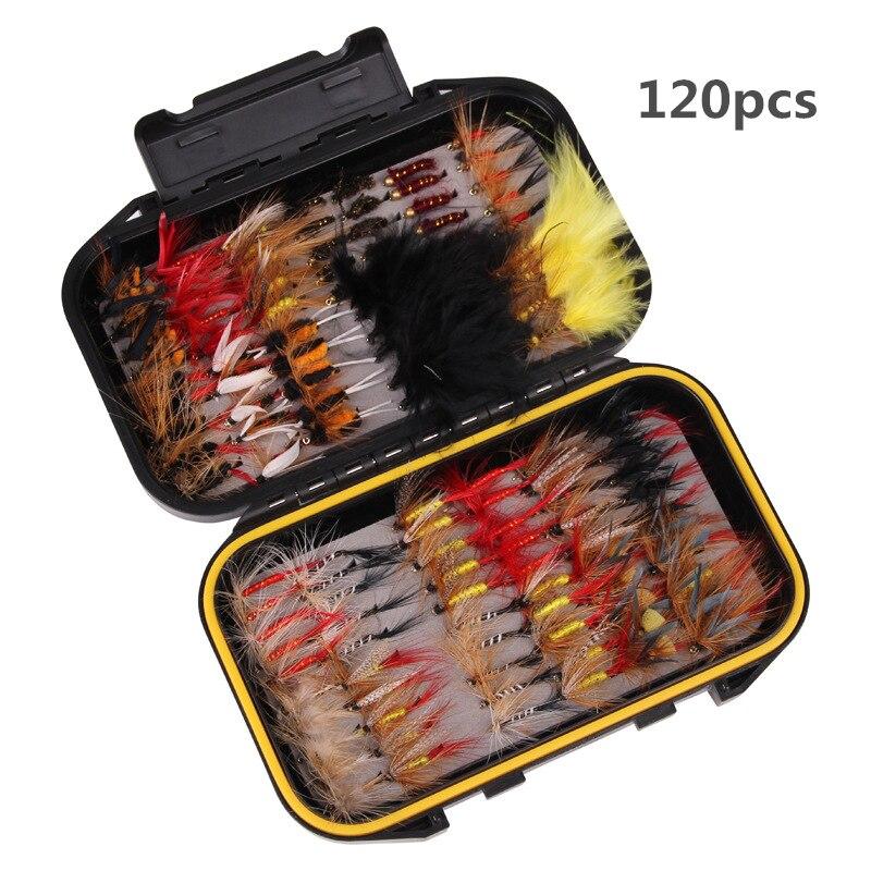 120 pièces Mini mouche leurres de pêche Simulation papillon mouches crochet truite leurres pêche appât Kit avec étui étanche