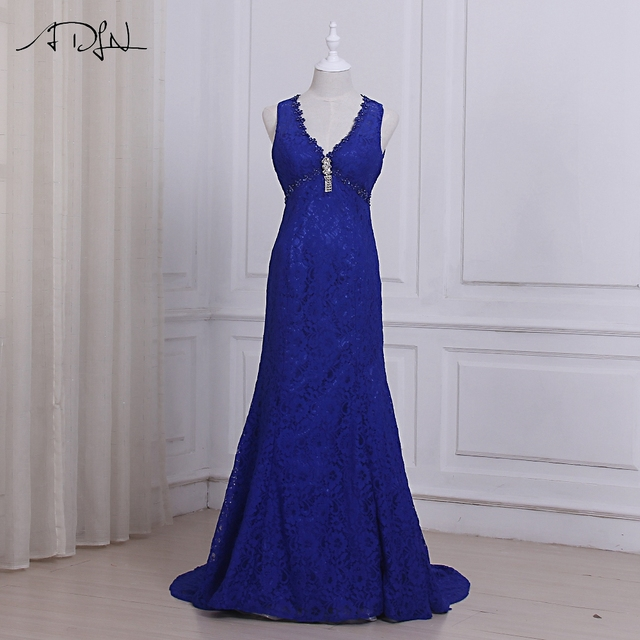 ADLN Cheap Royal Blue Lace Evening Dresses Sexy V-neck Sleeveless Empire Long  Party Prom Gowns Robes De Soiree Open Back dfc1aa754035