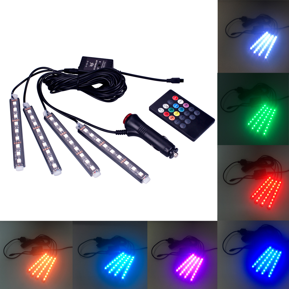 4 in 1 Voice Remote Control LED DRL Strip Light Car Atmosphere Lamp Auto Universal Colorful Interior Decorative Lamp