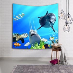 Image 5 - קיר תלוי שטיח קיר דגי חיות ים כחול דולפין צבי CAMMITEVER לזרוק עיצוב בית לסלון חדר שינה במעונות Deccor