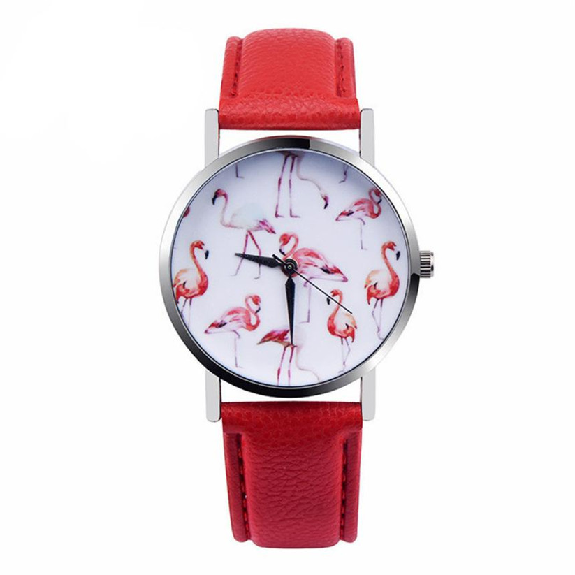 Womens Quartz Watches 1 PC Flamingo Pattern PU Leather Strap Wrist Watches Analog Vogue Female Watches