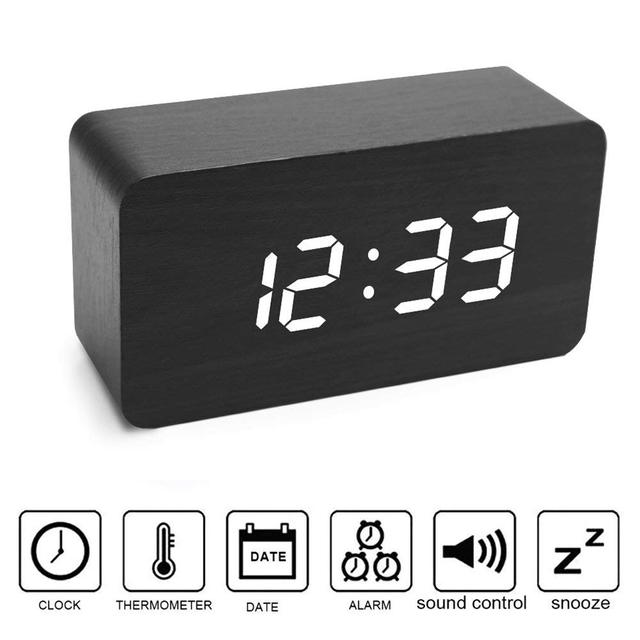 Digital Wood Alarm Clock Sound Voice Control LED Light Display