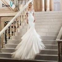 Dressv Ivory Beaded Lace Mermaid Wedding Dress Sweetheart Chapel Train Spaghetti Straps Zipper Up Trumpet Vintage