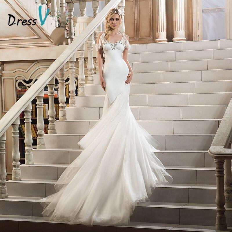 Dressv Ivory Beaded Lace Mermaid Wedding Dress Sweetheart