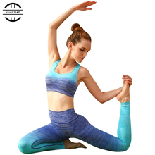 YD 2017 2Piece Gradient Fitness Yoga Set Seamless Bra + Slimming Leggings Sport Suits Gym Running Set Women Yoga Tight