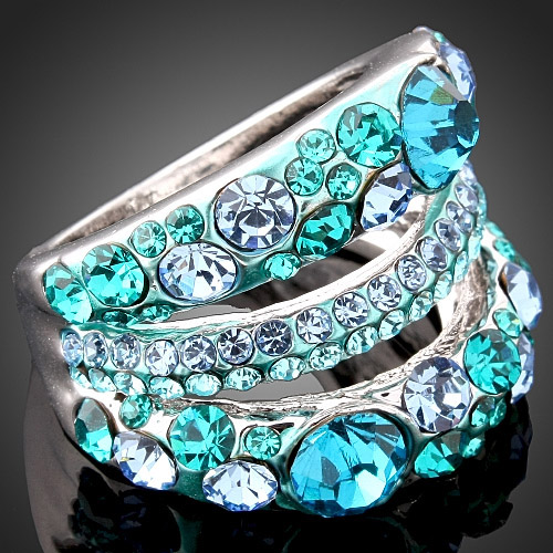 CHRAN Fashion Rhodium Plated Austrian Crystal Women Finger Rings Elegant Ladies Vantine Gifts
