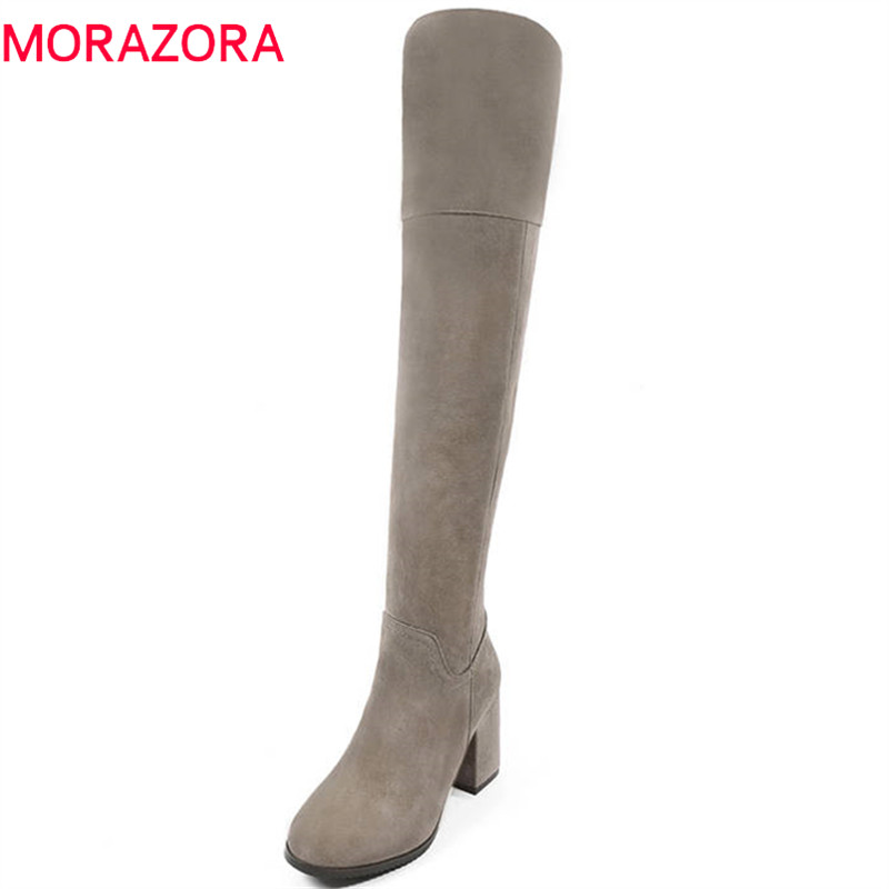 MORAZORA 2 colors 2020 new thigh high boots women cow suede leather long boots elegant autumn