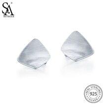 SA SILVERAGE Fine Jewelry 8.85g/25mm*20mm Geometric 925 Sterling Silver Earring Party Stud Earrings Women