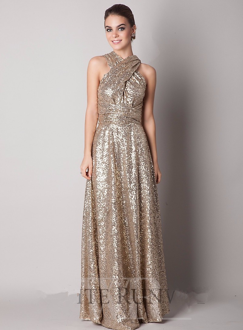 Rose Gold Champagne Sequin Bridesmaid Dresses 2016 New High Neck ...