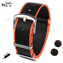 20mm 22mm Seat Belt Nylon NATO Zulu Strap Heavy Duty Military G10 Watch Band Replacement Watch Straps Black/Red Black/Orange