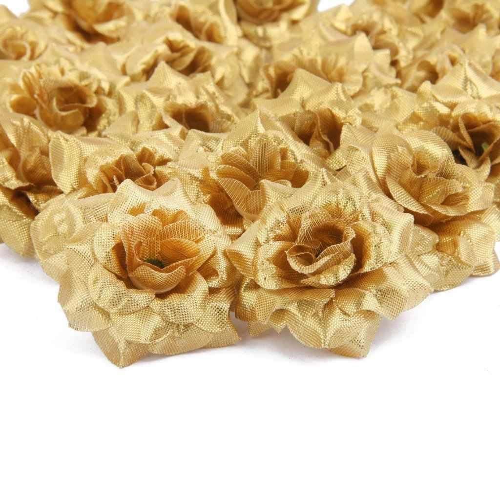 Caliente 50 Uds rosas de seda Artificial broches para boda decoración de la boda de la flor (Golden)