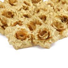 Hot 50 pcs Silk Roses Artificial Wedding Clips Decoration Flower Head (Golden)