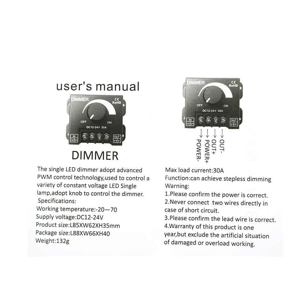 30A светодиодный диммер постоянного тока 12 V 24 V 360 W регулятор яркости лампы панель с лампочками драйвер один Цвет свет контроллер электропитания 5050 3528