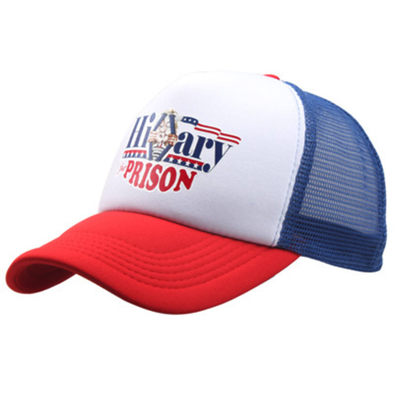 HILLARY CLINTON FOR PRISON DONALD TRUMP mesh   baseball     cap   unisex summer   cap   hat adjustale cotton printing sports snapback hats
