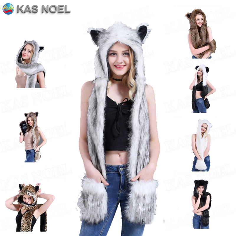 Winter White Wolf Anime Paws Ears Faux Animal Hood Hoods Mittens Gloves Scarf Zipper With Fleece Lined Plush Cosplay Husky Cap