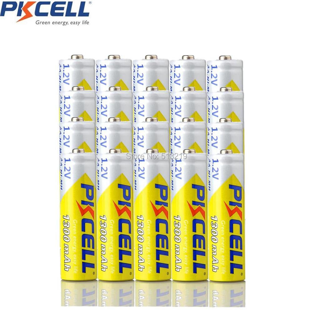20PCS PKCELL NIMH batteries AA 1300MAH 1.2v NI-MH rechargeable battery 2A pilas recargables aa for KTV microphone toys image